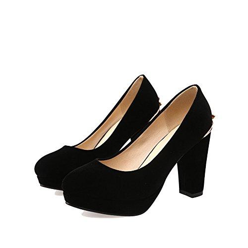 AllhqFashion Femme Suédé Mosaïque Tire Rond à Talon Haut Chaussures Légeres Noir
