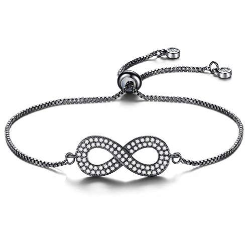 Schwarzes Unendlichkeits-Liebes-Symbol-Charme-justierbares Armband für ()