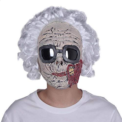 HOQTUM Halloween Maske weiblich Umweltfreundlich Latex Erwachsene alte Maskerade Maske mit Haaren Brille Urlaubsparty lustige Maske