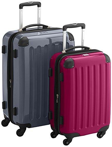 HAUPTSTADTKOFFER - Alex - 2er Koffer-Set Hartschale glänzend, TSA, 65 cm + 55 cm, 74 Liter + 42 Liter, Orange-Aubergine Silber-Magenta
