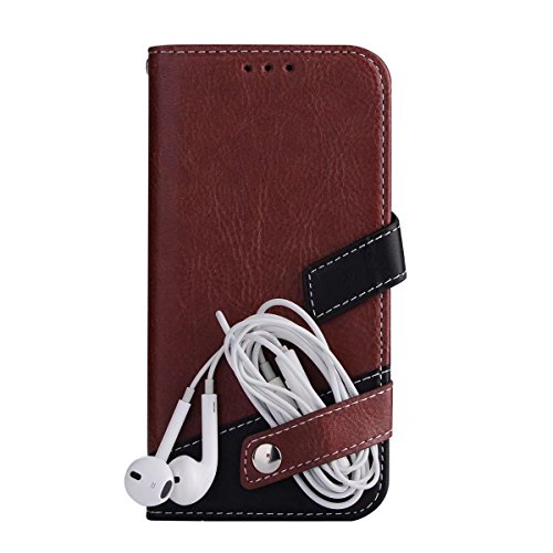 Litchi Texture Dual Farbe Stitching Pattern Synthetik Leder Tasche Cover Flip Stand Case mit Lanyard & Card Slots für Samsung Galaxy S7 ( Color : Red ) Brown