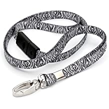 Ckb Ltd® 10x Breakaway Zebra stampa modello Premium di sicurezza cordino laccio girevole in metallo clip per carta d' identità Funky novità Cool cordino nero e bianco–antisoffocamento