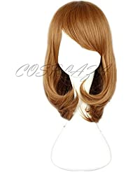 COSPLAZA Perruque brune mi-longue Anime Cosplay Wigs Noël Party Cheveux