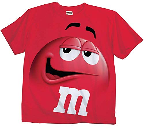 M&M's Candy Silly Character Face T-Shirt (Red-Adult L)
