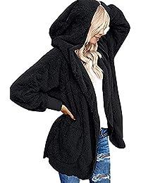 Beyove Damen Mantel Plüschjacke Frau Wintermantel Kurzmantel Warm Cardigan Kapuzenjacke mit Taschen Winterjacke