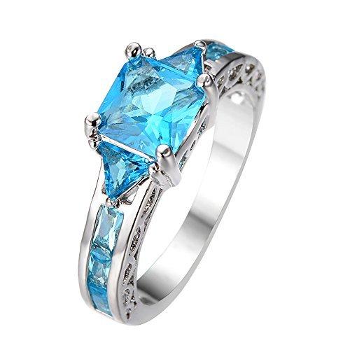 rongxing Aquamarin Geburtsstein Wonderful Damen weiß gold gefüllt Verlobung Ringe Set Geschenke Größe 6–10, Muschel, blau, - Aquamarin-geburtsstein-set