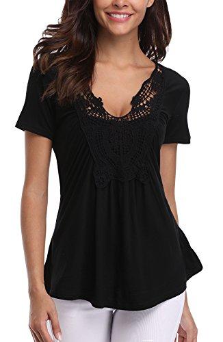 Miss Moly Women's Casual Sexy Tunic Lace Trim T-Shirt Elegant Tops Black - M