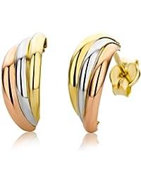 Miore Ohrringe Damen, Schmuck Dreifarbig Gelb/Weiß/Rotgold,  Creolen 9 Karat / 375  Gold