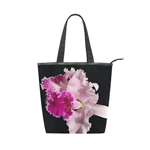 LAZEN Stilvolle Leinwand Tote Bag Handtasche 14 x 4,5 x 15 Zoll niedliche Orchidee