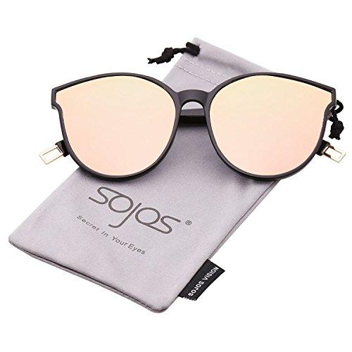 SOJOS Runde Sonnenbrille Damen UV-Schutz Groß Fashion Design SJ2057 mit Schwarz Rahmen/Rosa Linse