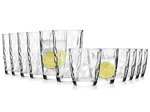 Bluespoon Trinkgläser Diamant 12er Set | Füllmenge der Universalgläser 300 ml und 400 ml | Einzigartig designtes Gläser Set in Diamant-Optik | Als Saftgläser sowie Longdrinkgläser geeignet