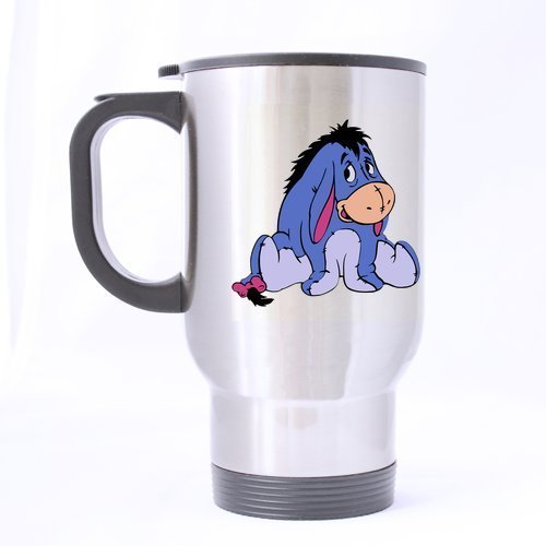 Cute The Pooh Eeyore Customize Personalized Travel Mug Sports Bottle Coffee Mugs Silver 14 OZ Office Home Cup Two Sides Printed by Custom Mugs