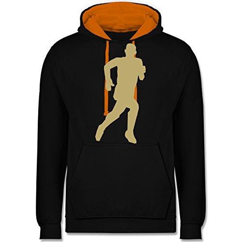 Laufsport - Laufen - Kontrast Hoodie Schwarz/Orange