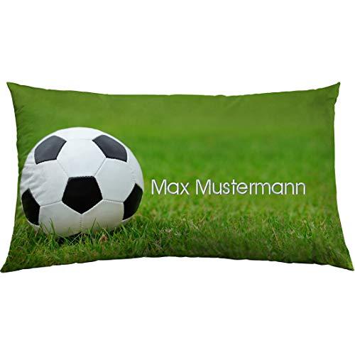 Manutextur Kissen mit Namen - Motiv Fußball - viele Motive - Kissenhülle inklusive Füllung - Größe 30x50 cm - personalisiert - persönliches Geschenk mit Wunsch-Motiv und Wunsch-Name