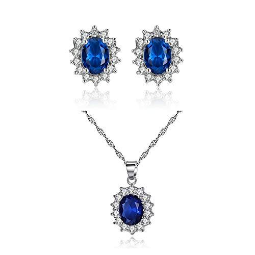 Ouken - Parure di collana e orecchini da donna con ciondolo blu e cristalli acquamarina, set perfetto per ogni occasione