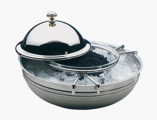 Kaviarkühler 4-teilig aus Glas und Edelstahl 18/8, stapelbar und spülmaschinenfest, Glasschale Ø 10 cm / Ø gesamt 18 cm, Höhe: 12 cm   SUN