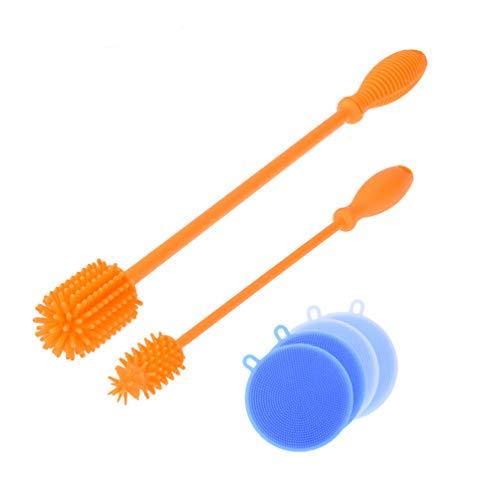 Uarter Soap Dispensing Dish Brush silicone Treat Bottole spazzola 2in 1spugna e setole spazzola, Orange, L