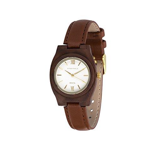 STADTHOLZ Armbanduhr Holzuhr Bristol Safirglas aus Nussbaumholz Lederarmband Damenuhr Geschenk MegaSale