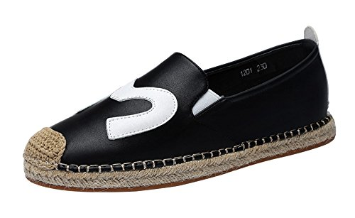 fq-real-balck-friday-womens-daily-casual-cap-toed-elastic-slip-on-flat-pu-loafer-5-ukblack