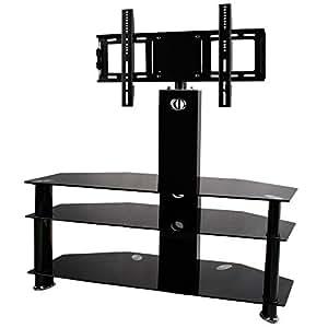 bps 30 60 tv stand 3 shelves cantilever glass with swivel tv wall bracket mount for samsung lg. Black Bedroom Furniture Sets. Home Design Ideas