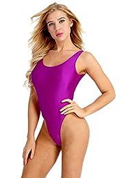 Tiaobug Femme Body Maillot de Bain Justaucorps de Danse Gym Collant Bodysuit de Sport Yoga Élastique Combinaison sans Manches Vêtement Plage Costume Natation Monokini S-XXL Rouge L