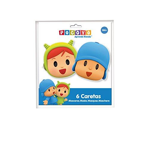 Verbetena, 016001515, pack 6 caretas para fiestas Pocoyo y Nina, producto de carton