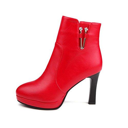 AllhqFashion Damen Rein Hoher Absatz Rund Zehe Reißverschluss Stiefel mit Metallstück Rot
