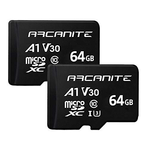 ARCANITE 2er-Pack, 64 GB microSDXC Memory Card - UHS-I U3, A1, V30, 4K, C10, MicroSD - AK2PV30A164