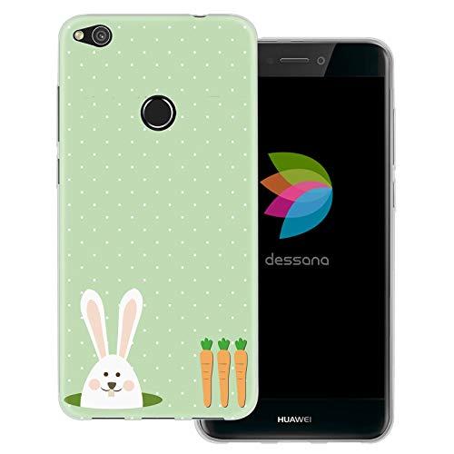 dessana Osterhase transparente Schutzhülle Handy Case Cover Tasche für Huawei P8 Lite (2017) Hase mit Möhren