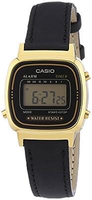 Casio Collection – Reloj Mujer Digital con Correa de Cuero Auténtico – LA670WEGL