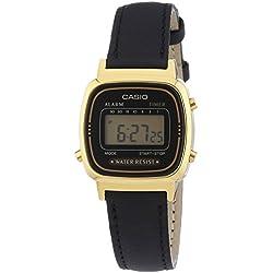Casio Casio Collection LA-670WEGL-1EF - Reloj digital de cuarzo unisex, correa de cuero color negro (alarma, cronómetro)