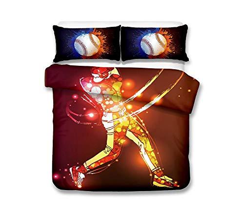 HAOGUO 3D-Bettwäsche, Baseball-Serie Home Textile DREI-teiliges Set mit unsichtbarem Reißverschluss, Mikrofaser Polyester Bettbezug Kissen glatt und weich,2,180 * 210