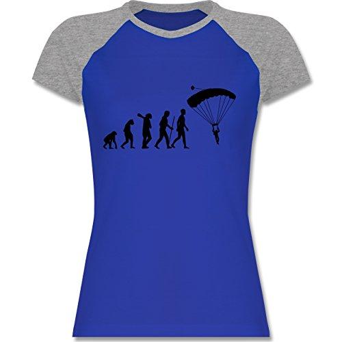 Shirtracer Evolution - Fallschirmspringen Evolution - Zweifarbiges Baseballshirt/Raglan T-Shirt für Damen Royalblau/Grau meliert