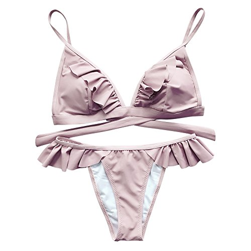 CharMma Damen Badeanzug Frilly High Leg Bikini Set (Pink, M) (Spaghetti Damen Kleine)