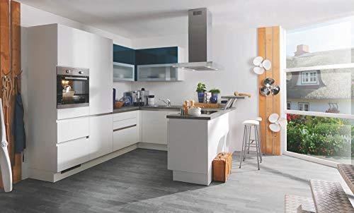 Wohnorama Einbauküche inkl Elektrogeräte 265 x 250 x 200 cm von Burger Weiss Hochglanz/Navy Hochglanz by