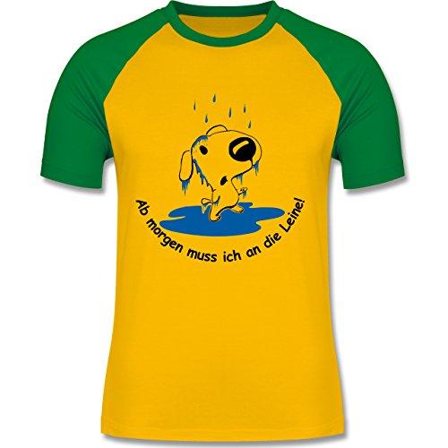 JGA Junggesellenabschied - Ab morgen muss ich an die Leine - zweifarbiges Baseballshirt für Männer Gelb/Grün