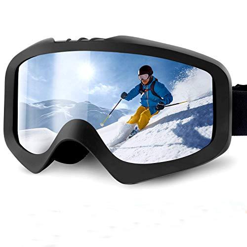 Karvipark Skibrille, Ski Snowboard Brille Brillenträger Schibrille Verspiegelt, Doppel-Objektiv OTG UV-Schutz Anti Fog Snowboardbrille Damen Herren Kinder für Skifahren Snowboard (Silber)