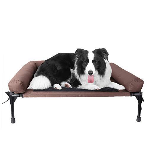 BingoPaw Erhöhtes Hundebett für Indoor und Outdoor - Hundeliege Hundesofa Beweglich Wasserdicht Haustierbett mit weiches Hundekissen und Selbstheizende Decke - S/M/L Braun