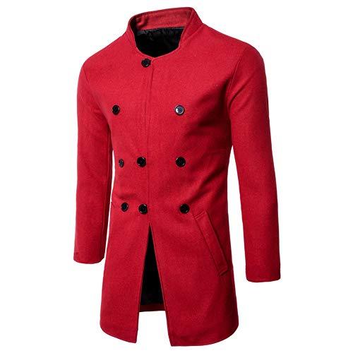 Distressed-fleece-sweatshirt (Gobling formeller Mantel für Herren, modisch, Herbst und Winter, langärmelig, mit Knöpfen Large rot)