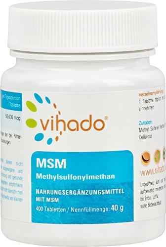 Vihado MSM Methylsulfonylmethan - hochdosierte reine Premiumqualität, natürlicher Schwefel, 400 Tabletten, 1er Pack (1 x 40 g)