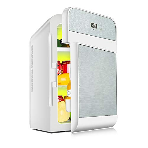 Auto Dual-Use-kleinen Kühlschrank, 20L große Kapazität Warm-up-Box Auto Dual-Kühlung Heizgerät, Glasmaterial ! (Color : Silver, Style : Single) - Doppel-tür Kompakt Kühlschrank