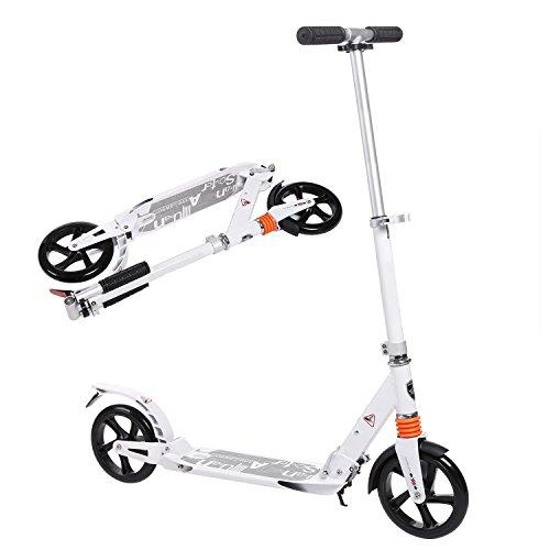 AMDirect Erwachsene Cityroller Tretroller Klappbar und Faltbar, Big Wheel City Roller Scooter Höhenverstellbar mit Doppel Federung für Erwachsene Jugendliche und Kinder ab 10 Jahre bis 100kg, Weiß