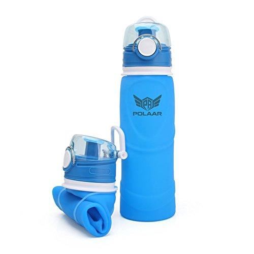 polaar Sport-Wasserflasche, Faltbar, Mehr Platz in der Sporttasche - Das Original! 750 ml, BPA-Frei und Fda-Geprüft, in Blau, Leicht zu Reinigen