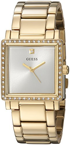 GUESS Women's U0914L2 Dressy Gold-Tone Watch with  White Dial  and Stainless Steel Band