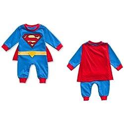 Bebé de manga larga Superman Romper, disfraz de superhéroe Superman disfraz 3–18M Talla:6-9M