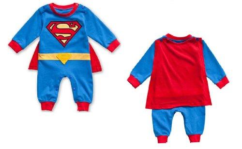 mit langen Ärmeln für Babyjunge, Superhelden-Outfit, Superman-Maskenkostüm, Größe 3 bis 18 m (Superman Outfit)