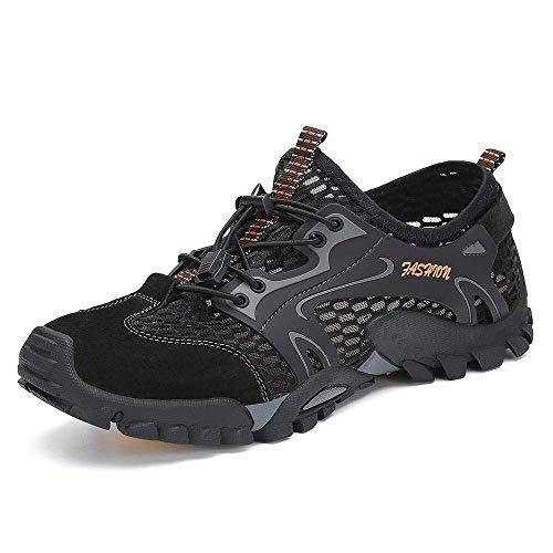 Uomo Scarpe da Trekking Scarpe da Spiaggia acqua Sandali Sneakers Sportivi All'aperto Scarpe Pescatore Piscina Acqua Mare Escursionismo Leggero Scarpa (38 EU, Nero)