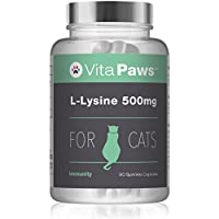 VitaPaws™ L-Lisina 500mg 90 Cápsulas para espolvorear | Aminoácido esencial en la dieta de los gatos | Indicado para gatos