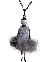 f5ead34a247b Collier sautoir pendentif élégante poupée robe grise avec ...
