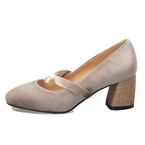 Di Tira Tacco Donna Luce In Voguezone009 Destra Scarpe Pelle A Solido Colore Albicocca Scamosciata 5zqqw6